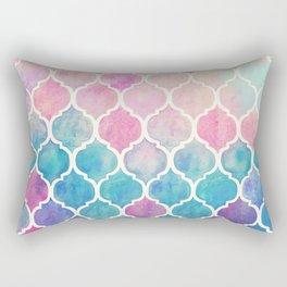 Rainbow Pastel Watercolor Moroccan Pattern Rectangular Pillow