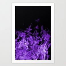 Purple Flames on black Art Print