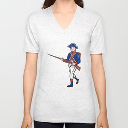 American Soldier Marching Rifle Cartoon Unisex V-Neck