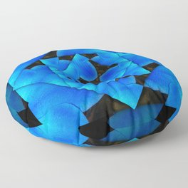 Sparkling Blues Abstract Floral  Floor Pillow