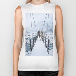 Moose on a Bridge in Winter Biker Tank