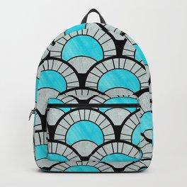 Aqua Art Deco Twenties Fan Pattern Backpack