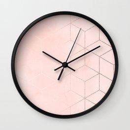Rose Gold Pink Pastel Geometric Cubes Wall Clock