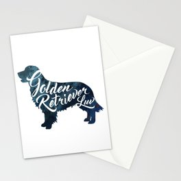 Golden Retriever Luv Blue Watercolor Stationery Cards