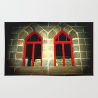 medieval Area & Throw Rugs featuring Medieval Windows by Chris' Landscape Images & Designs