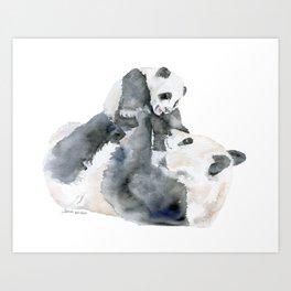 Mother and Baby Panda Bears Art Print