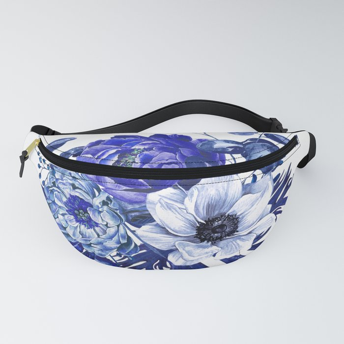 China Blue Porcelain, Asia, Peony, Flower, Floral, Cyan Fanny Pack