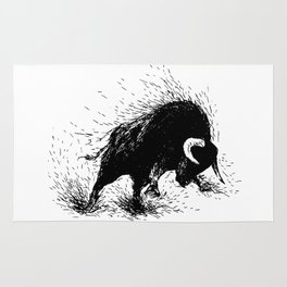 Hand drawing of a raging bull Rug