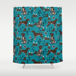 German Shorthair Pointer mountain hiking hiker outdoors camping dog breed Shower Curtain
