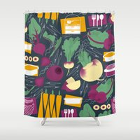 vegetables Shower Curtains featuring Root Vegetables by Lucilight