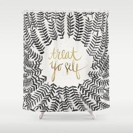 Treat Yo Self – Black & Gold Shower Curtain