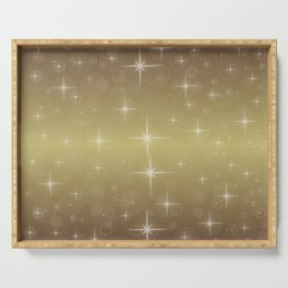 Gold Christmas With Stars Serving Tray