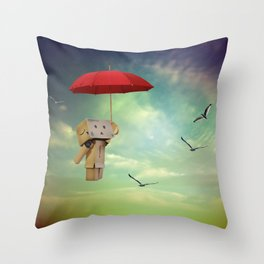 Danbo on tour Throw Pillow