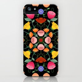 Folk Art Inspired Garden Of Fantastic Floral Delight iPhone Case