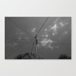 Black and white telegraph line Canvas Print