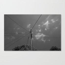 Black and white telegraph line Canvas Print