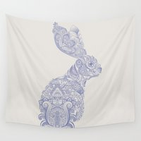 henna Wall Tapestries featuring Henna Rabbit by Dezi