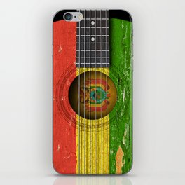 Old Vintage Acoustic Guitar with Bolivian Flag iPhone Skin