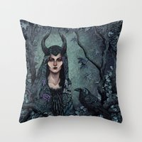 maleficent Throw Pillows featuring Maleficent by Angela Rizza