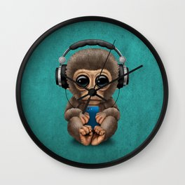 Cute Baby Monkey With Cell Phone Wearing Headphones Blue Wall Clock