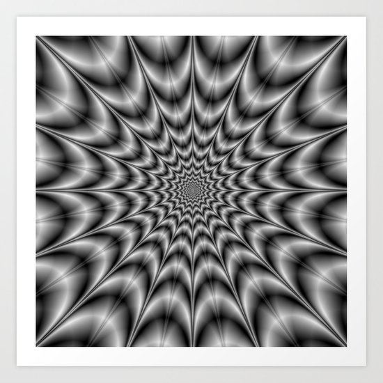 Psychedelic Explosion In Black and White Art Print