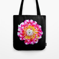 dahlia Tote Bags featuring Dahlia by Trevor Jolley