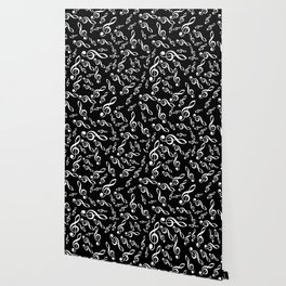 Treble Clef Pattern - Black Wallpaper