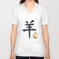 ram V-neck T-shirts featuring Ram by Mary Lenz Art
