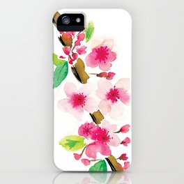 Cherry blossom watercolor iPhone Case