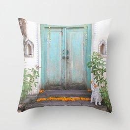 Turquoise Door Throw Pillow
