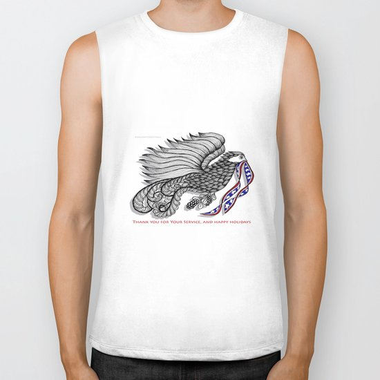 Veterans Happy Holiday and Thank You for Your Service - Zentangle Illustration Biker Tank