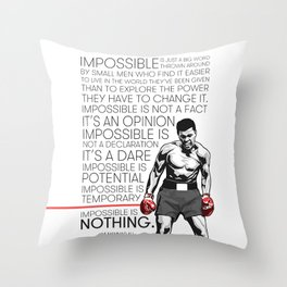 Ali 'The Champ' Boxing Throw Pillow