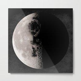 Moon Poster, Moon Art Print, Square Moon Print, Wall Art, Home Decor, Luna Poster, Moon Print, Lunar Moon Print, Luna Moon, Third Quarter Moon, Black and White, Third Quarter Moon Art Print Metal Print