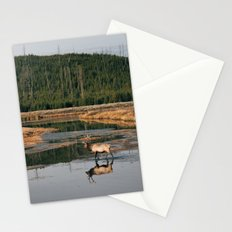 Bull Elk Crossing a River in Yellowstone Stationery Cards