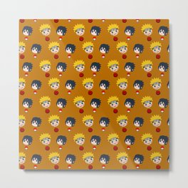 Funny Naruto and Sasuke Face Metal Print