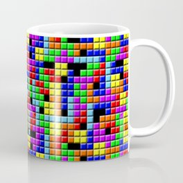 Tetris Inspired Retro Gaming Colourful Squares Coffee Mug