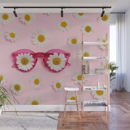 Pink sunglasses with daisies Wall Mural