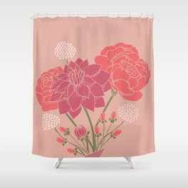 Pink Floral Bouquet in a Vase Shower Curtain