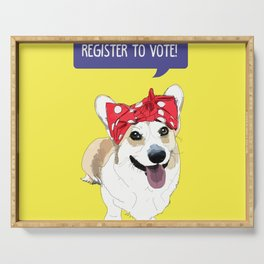 Political Pups - Register To Vote Corgi Serving Tray