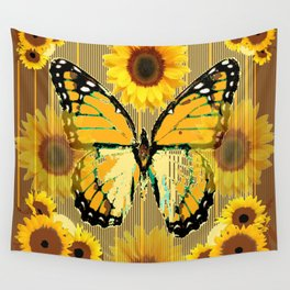 NUT & PUTTY COLORED YELLOW SUNFLOWERS ART Wall Tapestry