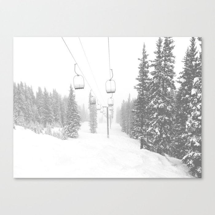 Empty Chairlift // Alone on the Mountain at Copper Whiteout Conditions Foggy Snowfall Leinwanddruck