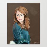 emma stone Canvas Prints featuring Emma Stone by Artsy Rosebud