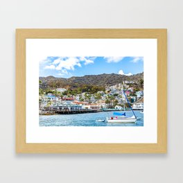 Sailboat with a view of Avalon Framed Art Print