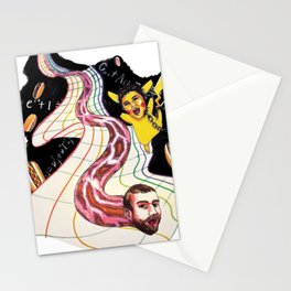 Snake-man and friend in hyper-dimensional curved spacetime Stationery Cards