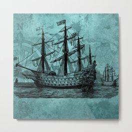 Vintage ship   Vintage pirate   Steam punk design   Pirates Metal Print