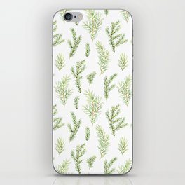 Cristmas watercolor fir and pine twigs iPhone Skin