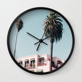Pink Building Downtown Santa Monica California Wall Clock