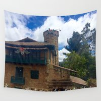 colombia Wall Tapestries featuring Mount Monserrate at Christmastime Maybe, Bogota, Colombia by ANoelleJay