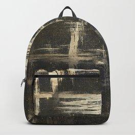 Gold Brushstrokes on Black Backpack