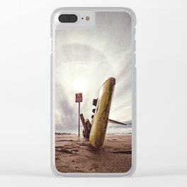 Surboard,sign and halo landscape Clear iPhone Case